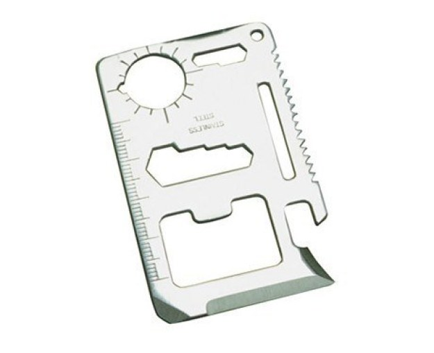 Um kit de ferramenta de sobrevivência que é menor do que um cartão de crédito e irá salvá-lo em situações de emergência.