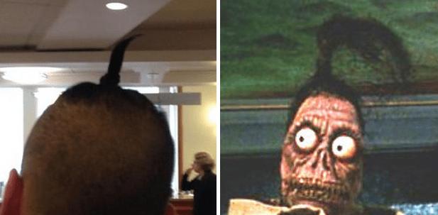 Si no teneis bastante pelo para un rodete, entonces te verás como la cabeza encogida de Beetlejuice.