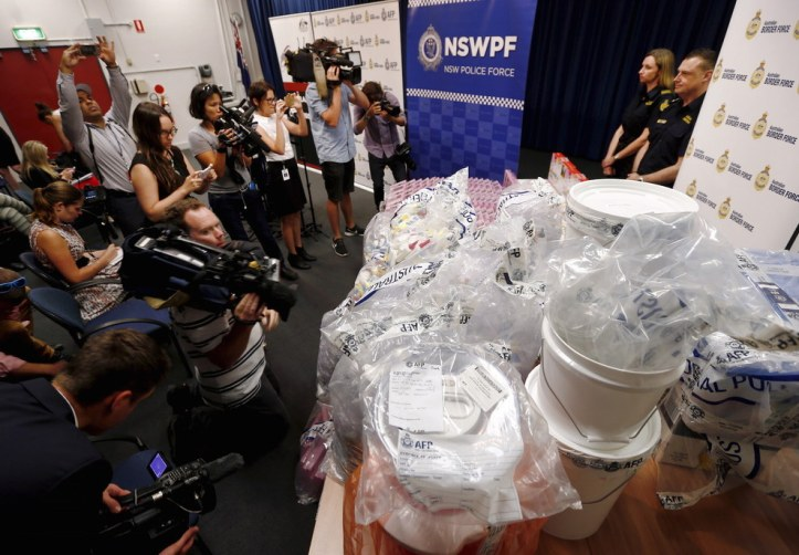 The Australian Border Force and Australian Federal Police on Monday unveiled one of their biggest seizures of illicit drugs in recent years, displaying nearly $1.25 billion AUD ($890.5 million U.S.) worth of liquid methamphetamine.