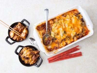 Korean Rice Cakes With Pork Belly And Cheddar