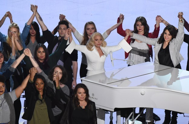"At tonight's Oscars, Lady Gaga was widely tipped to win Best Original Song with Diane Warren for ""Til It Happens To You."""