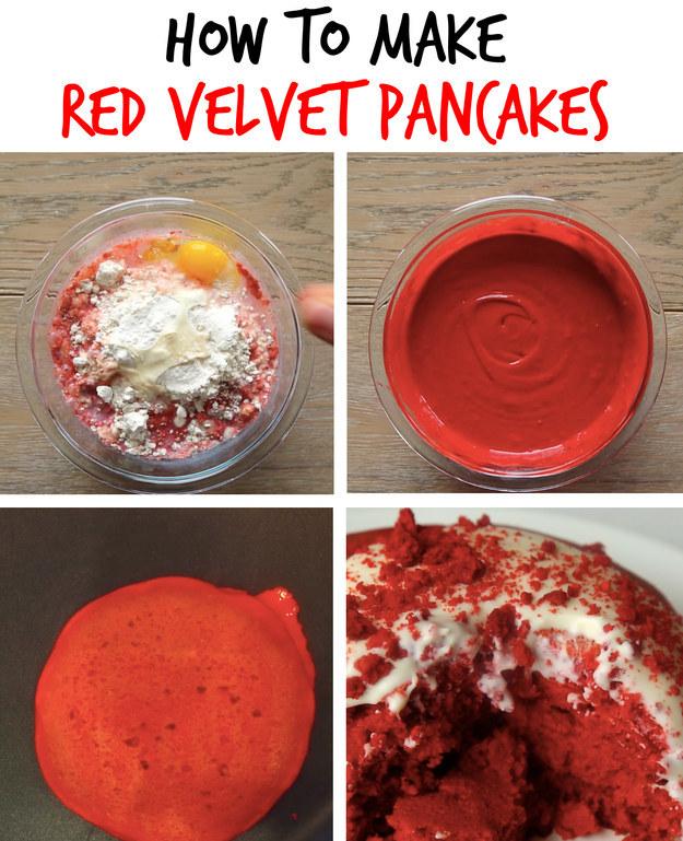 3. Red Velvet Pancakes with Cream Cheese Glaze