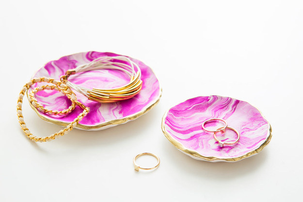 If you're always looking for lost jewelry, make a decorative dish that is just as cute as your accessories.