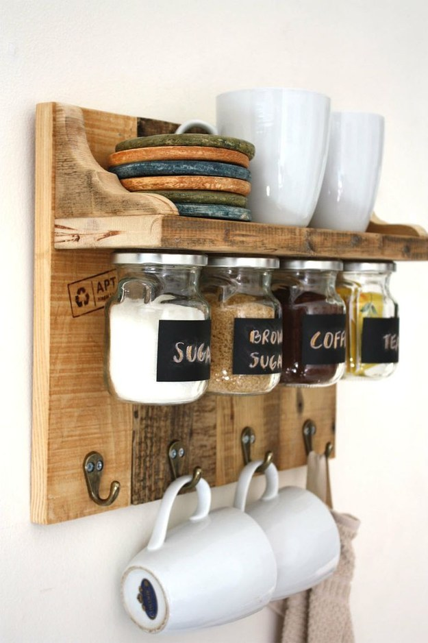 This coffee station that stashes all of your morning necessities: