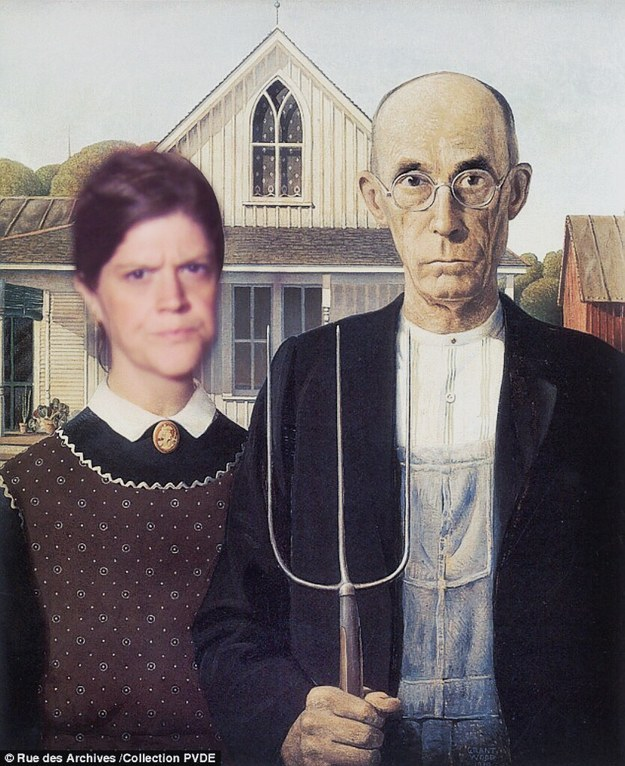 "This 'shopped version of ""American Gothic"" is another favorite of Steven's."