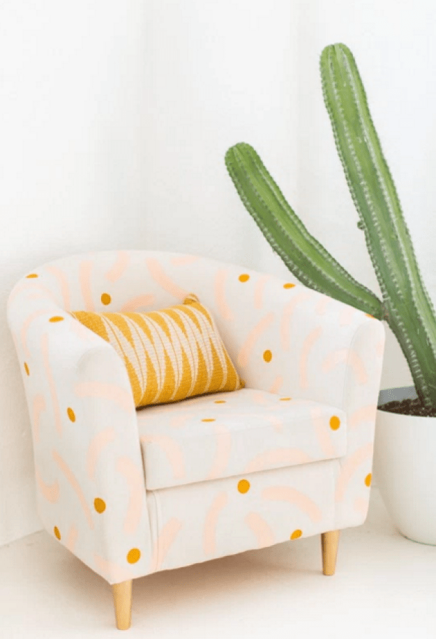 Upgrade any color fabric chair with painted accents.