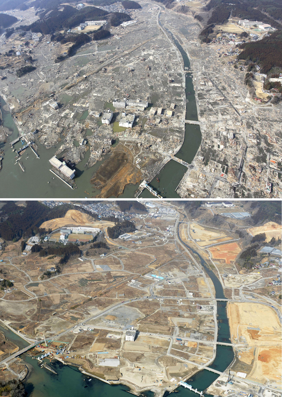 Here's an aerial view of Japan's northeastern coast days after the tsunami, and then again on Feb. 24, 2015.