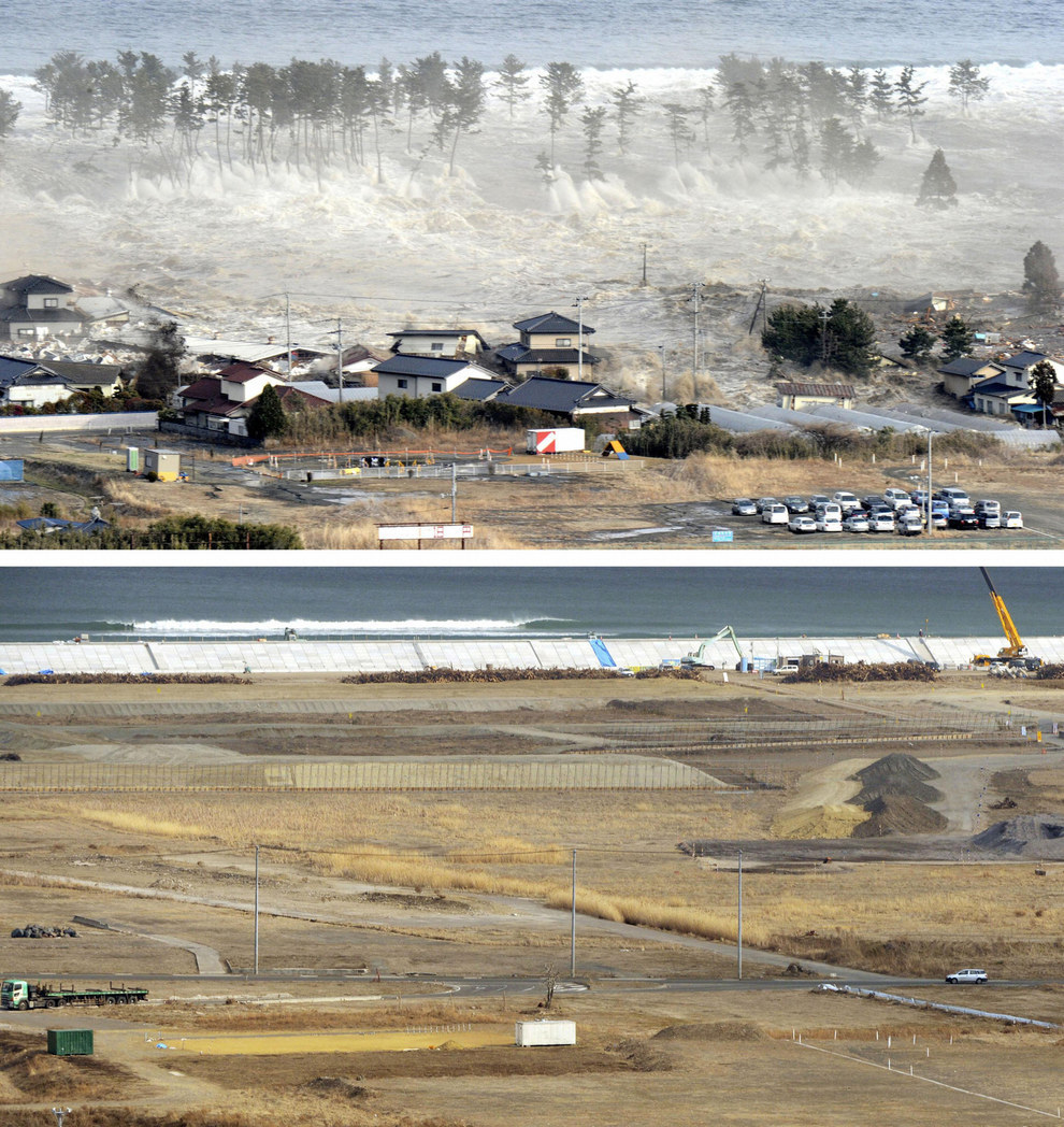 These images show the tsunami tearing through the city of Natori in Miyagi, followed by rebuilding efforts in 2013.