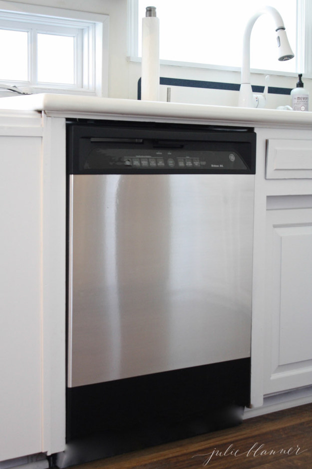 Upgrade your dishwasher or refrigerator with stick-on steel contact sheets.