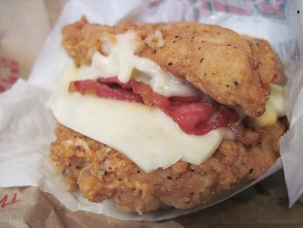 The KFC double down. Don't make me explain why a sandwich that uses fried chicken instead of bread is a bad idea.