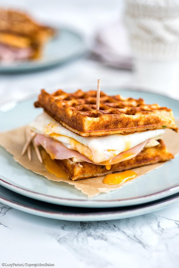 Parmesan Waffle, Ham, Cheese, And Egg Breakfast Sandwich