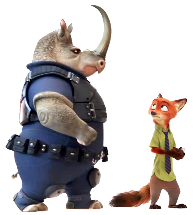 It stars many animal characters, including this big ol' rhino called Officer McHorn, a police officer who is part of the Zootropolis Police Department.
