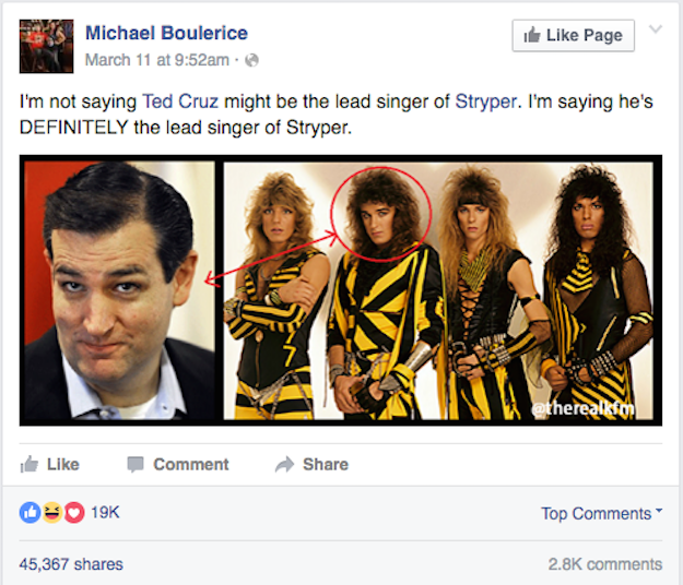 Republican presidential candidate Ted Cruz has found himself at the center of another conspiracy theory during this election season. People believe that he may moonlight as Michael Sweet, lead singer of Stryper, all because of this Facebook post.