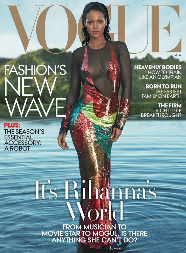 Did you get that? DESPITE LIKING SHADY TWEETS, there's no rivalry between the two singers! As Vogue's cover suggests, it's Rihanna's world, so you better listen.