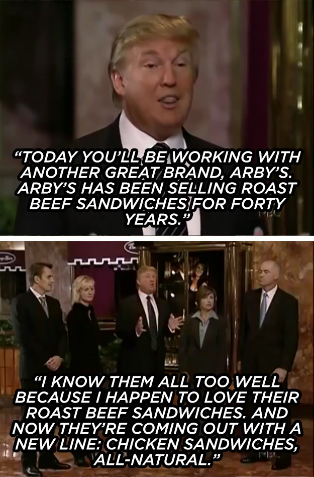 The time he shilled for Arby's, the most presidential of all sandwich companies.