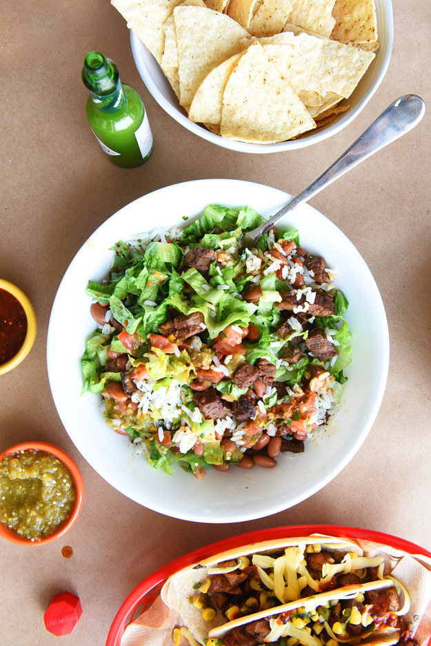 Making your own version of every meat on the Chipotle menu means unlimited, 24/7 access to carnitas, steak, and barbacoa — which is GREAT.