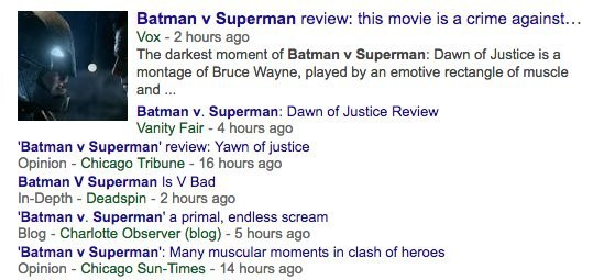 Here are some headlines of reviews for Batman V Superman: Dawn Of Justice: