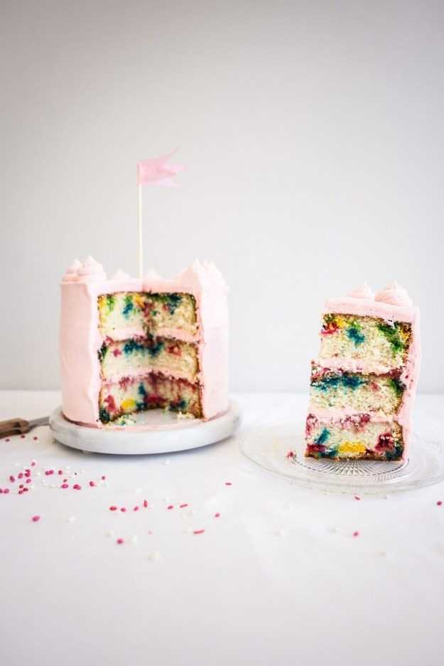 Roasted Strawberry and White Chocolate Rainbow Chip Cake