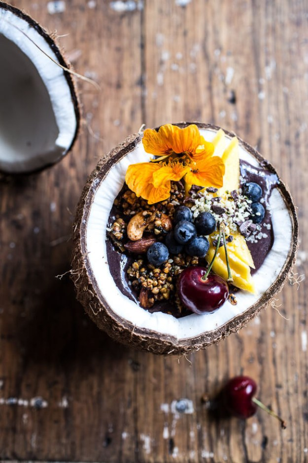 Go (coco)nuts for a gorgeous acai breakfast bowl housed inside a coconut.