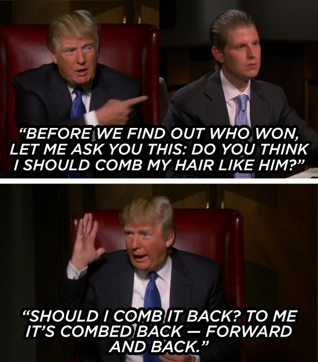 The time he halted a boardroom meeting to solicit opinions about his hair, demonstrating a truly presidential level of focus.