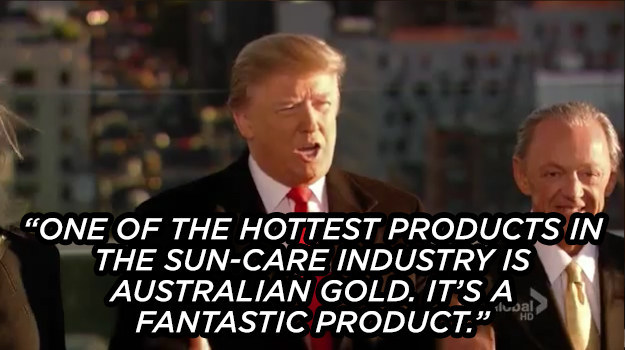 The time he shilled for Australian Gold's extraordinarily presidential line of sun-care products.