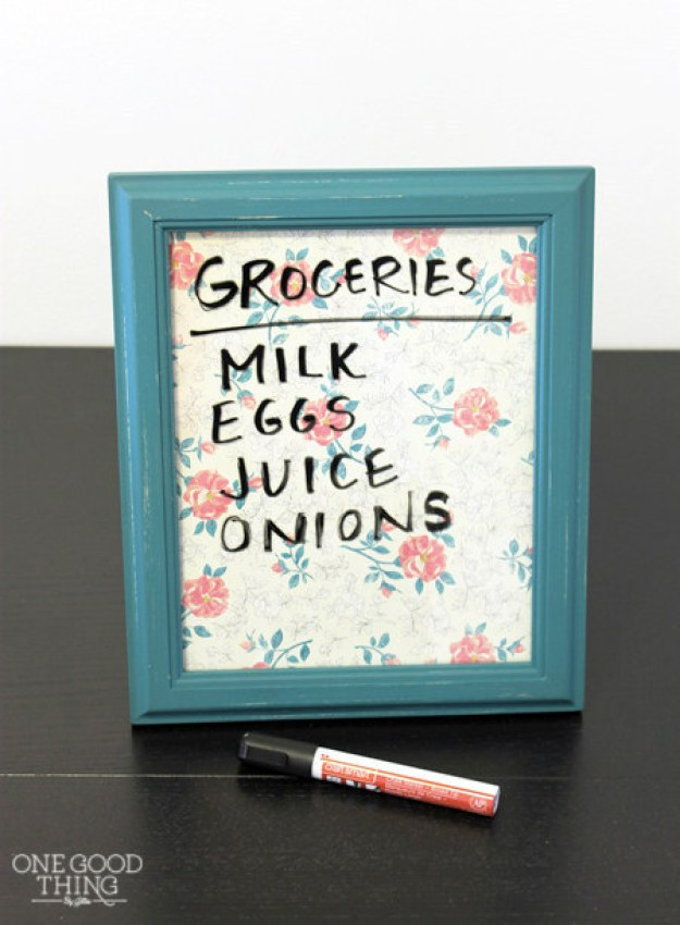 Turn an old picture frame into a pretty dry-erase list.
