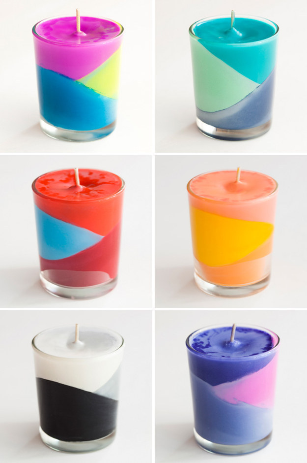 Melt down some crayons into these gorgeous candles:
