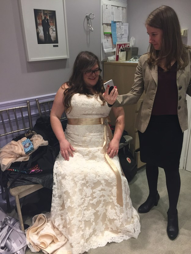 Then — because it seemed like I was developing feelings for the dress — the consultants left me wearing it for a few minutes while they stepped out (I'm guessing because that way I'd get attached to it).