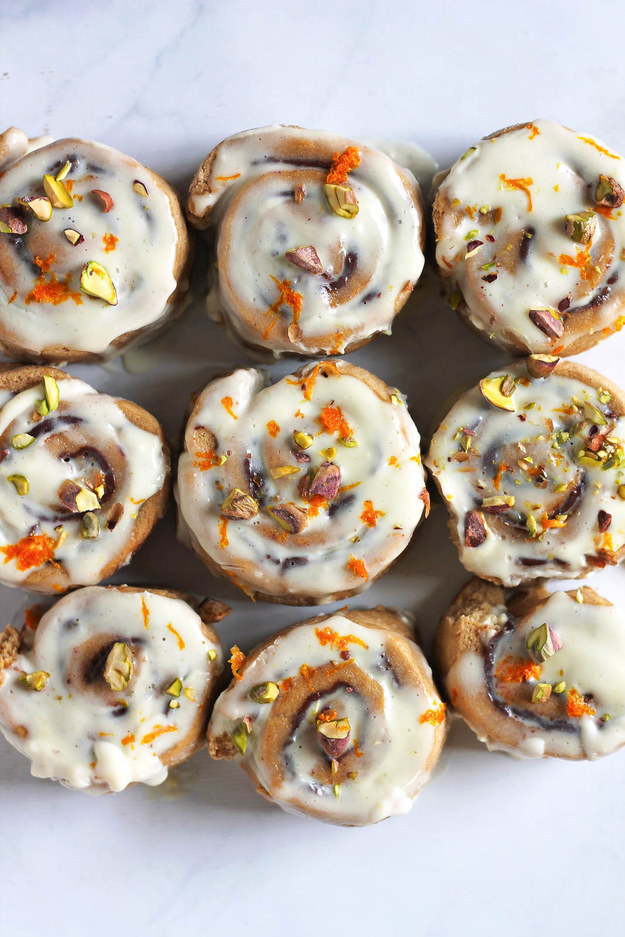 Whole Wheat Chocolate Cinnamon Rolls with Pistachios and Orange Icing