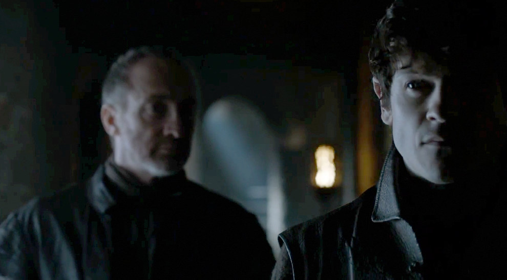 Inside Winterfell Roose Bolton doesn't look best pleased with his son, probably as a result of Ramsay letting Sansa escape.