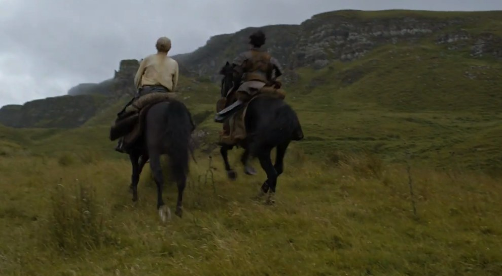 Somehow (hopefully this will be explained) Daario Naharis and Jorah the Explorer end up at EXACTLY the same spot where Daenerys was taken by the Dothraki in Season 5.