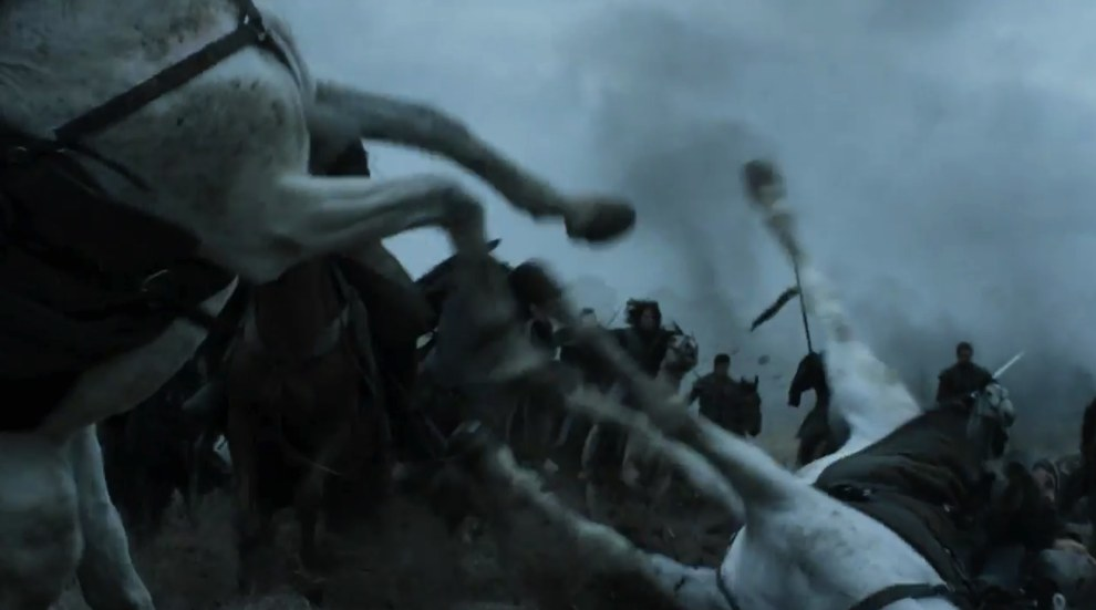 Then we have another battle shot and some horses falling over. But...is that Jon Snow in the background?