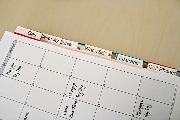 A binder that makes it easy to track all of your bills through the entire year.
