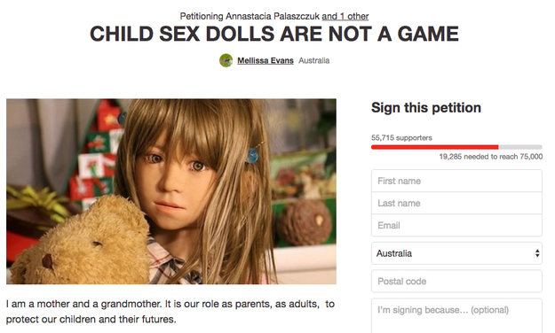 Takagi's advocacy for the dolls is now causing controversy outside of his native Japan. In Australia, a petition has been started demanding a ban on the sale of child sex dolls in Queensland.