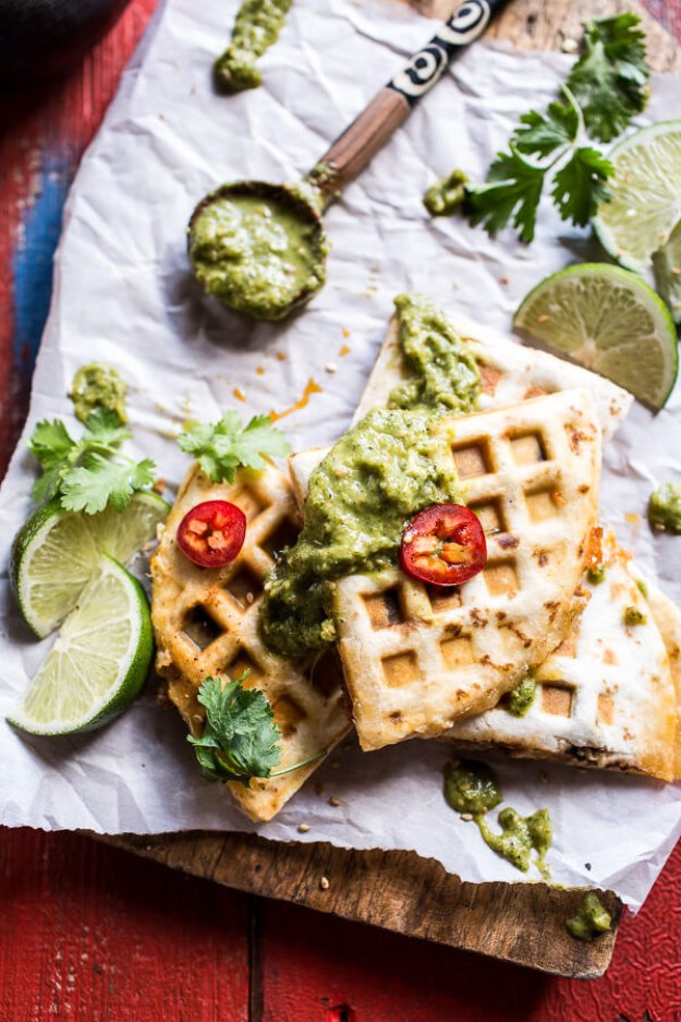Spicy Pork Al Pastor Quesadilla With Roasted Tomatillo Salsa Verde