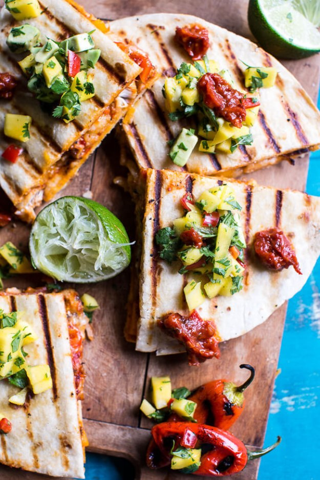 Fiesta Chicken Quesadilla With Chipotle Relish and Mango Salsa