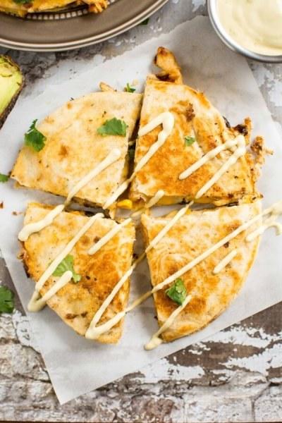 Southwest Chicken Quesadilla With Avocado Ranch