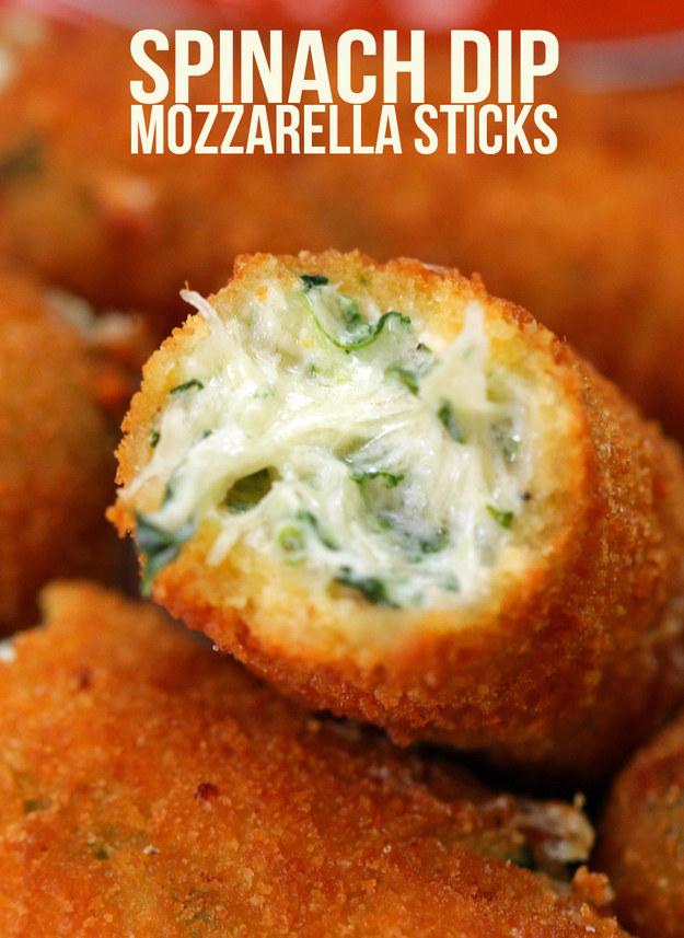Spinach Dip Mozzarella Sticks