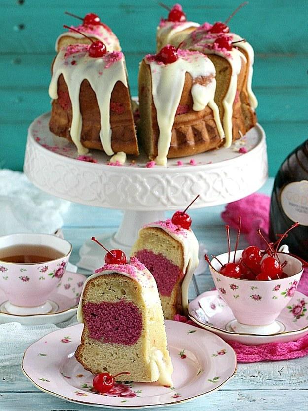 Cherry Almond Ricotta Bundt Cake