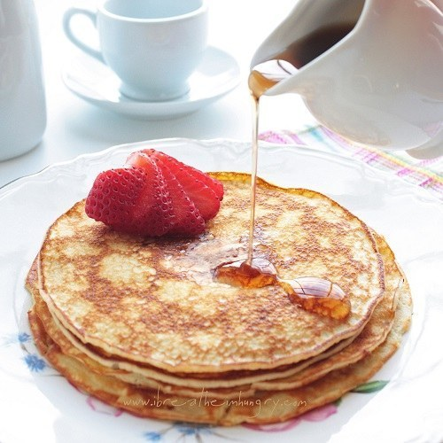 For a lower-carb breakfast that isn't just eggs, try these simple four-ingredient pancakes.