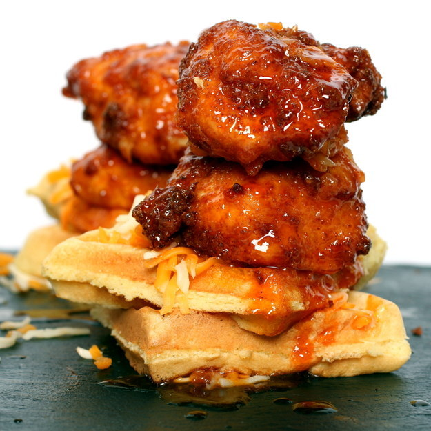 Pickled Fried Chicken and Waffles with Sriracha Butter and Cheddar