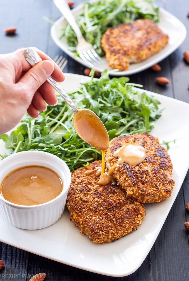 Sriracha Almond-Crusted Pork Chops With Spicy Honey Mustard Sauce