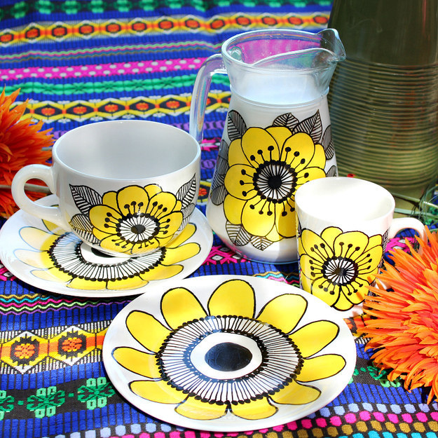 Draw on dollar-store dishes to make your own Marimekko-inspired set.