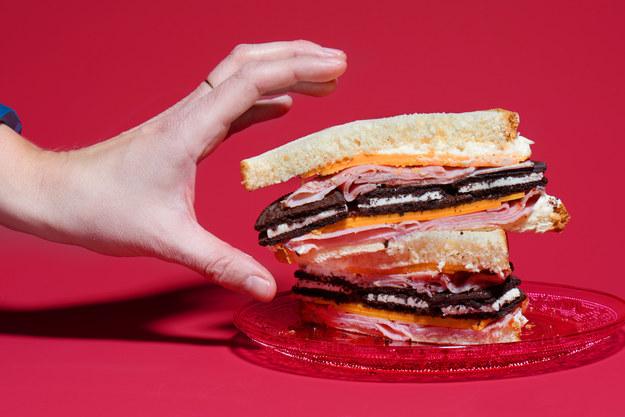 Ham, mayo, cheese, and Oreos on white bread.