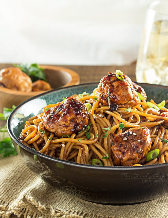 Kung Pao Chicken Meatballs and Spaghetti