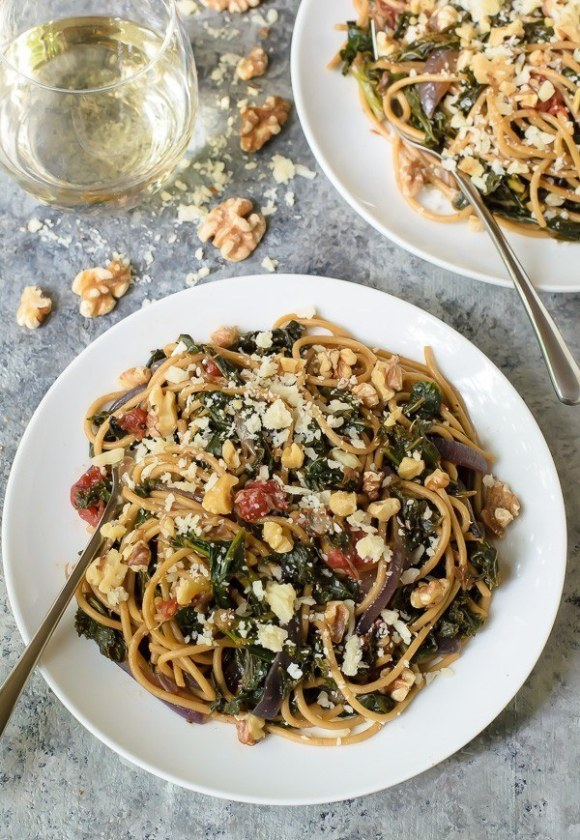 Kale Pasta with Walnuts and Parmesan