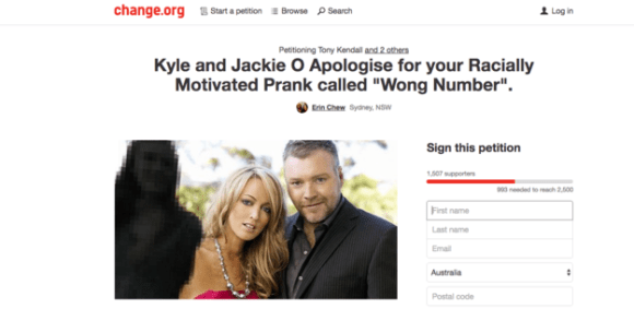 """A change.org petition with more than 1,500 signatures is calling on Kyle Sandilands and Jackie O of KIIS FM to apologise for their segment known as """"Wong Number""""."""