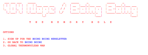 Boing Boing eventually deleted its post altogether. Anyone following the URL now gets an error page. But the cached version is available here.