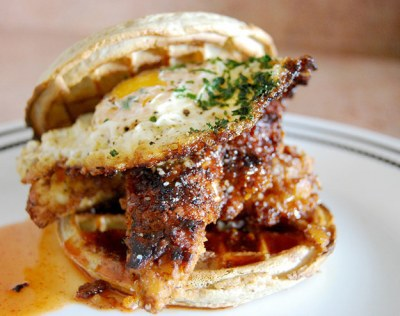 Sweet 'n Spicy Fried Chicken and Waffle Sandwiches