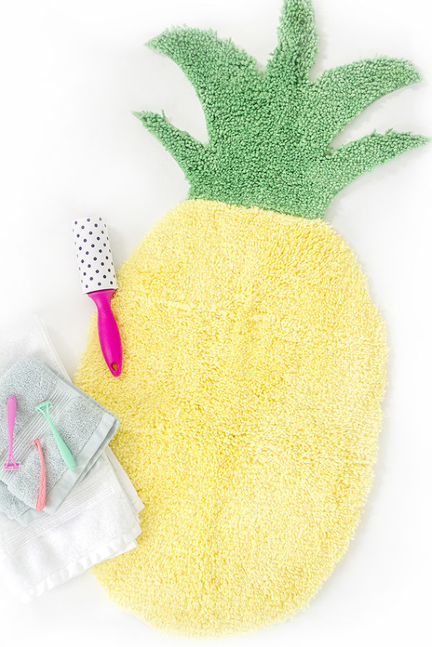 Glue together two cheap bath mats to make a pineapple-shaped place to warm your toes.